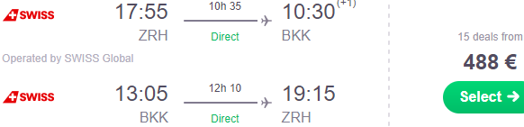 Swiss Air Lines sale: Non-stop from Zurich to Bangkok in peak season €488!