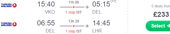 Open-jaw flights Moscow - New Delhi - London from £233 (€261)!