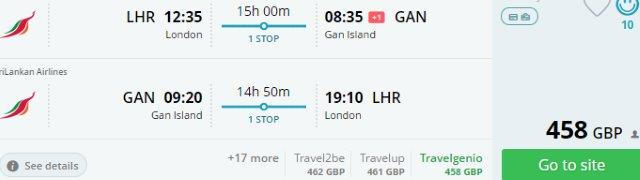 Return flights from London to Gan Island (Maldives) from £458!