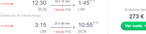 Return flights from Europe to South America (Peru, Chile) from €273!