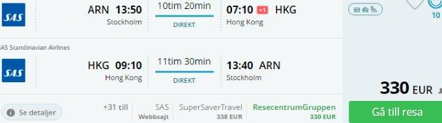 Stockholm to Beijing just €288 or non-stop to Hong Kong from €330!