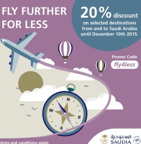 Saudia promotion code: up to 20% discount on selected flights!