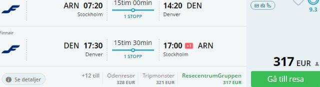Cheap return flights from Europe to Denver, Colorado from €317 or £334!