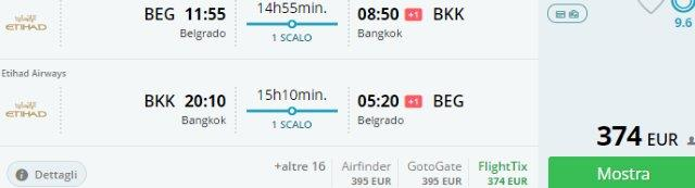 Etihad Airways flights from Belgrade to Bangkok in peak season from €374!