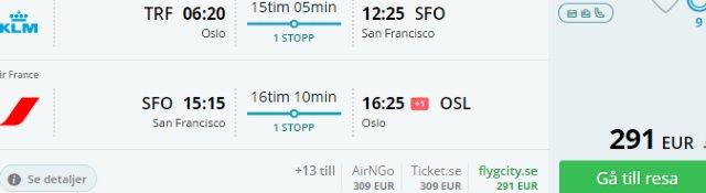 SkyTeam: Return flights to California from Oslo €291 or Italy €354!