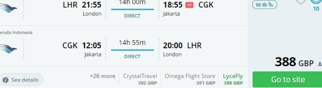 5* Garuda Indonesia non-stop flights London to Jakarta from £388!