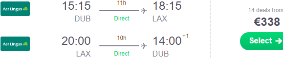 Aer Lingus sale e.g. non-stop flights Dublin to Los Angeles from €338!