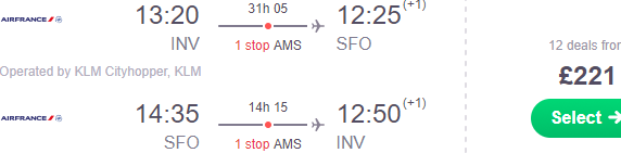 Air France / KLM flights to San Francisco from Stockholm €278 or the UK £221!