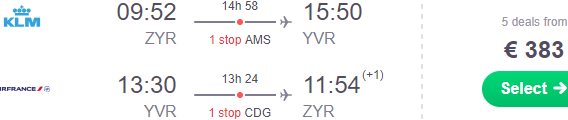 KLM flights from Brussels to Toronto €328, Vancouver €383, Yellowknife €525!