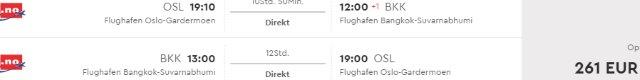 Norwegian Air Shuttle promotion: Non-stop from Oslo to Bangkok €261! (OW just €135)