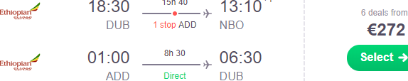 Open-jaw flights from Europe to Kenya returning from Ethiopia from €272!