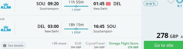 Air France / KLM return flights from the UK to India from £278!