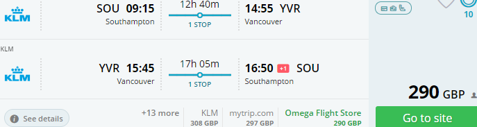 Cheap return flights to Vancouver from the United Kingdom £297 or Spain €327!