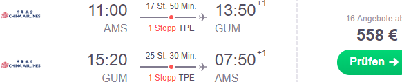 Fly from Amsterdam, Frankfurt or London to Oceania (Guam or Palau) €558 or £573!