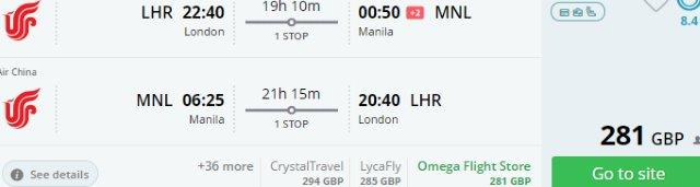 Air China cheap return flights London to Asia from £281!