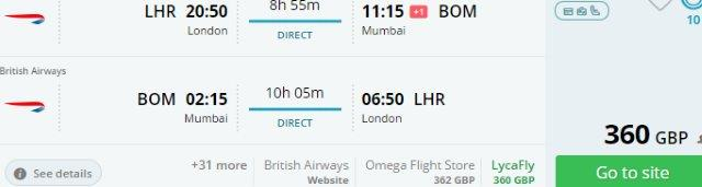 British Airways cheap non-stop flights from London to India £360!