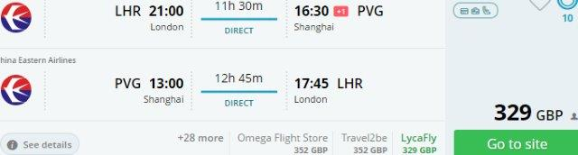 Fly non-stop to Shanghai from London £329, Madrid €392 or Paris €417..