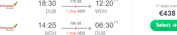 Cheap return flights from Dublin to Windhoek, Namibia from €438!