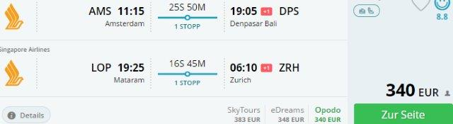 Open-jaw flights to Indonesia from Amsterdam returning to Zurich from €340!