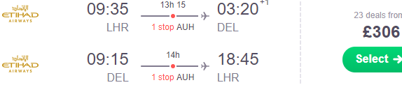 Cheap return flights from the UK to India on Etihad Airways from £306!