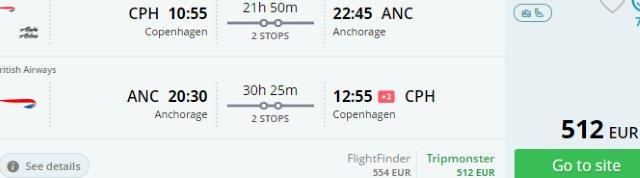 Fly from Denmark to Alaska at the end of summer holidays from €512!