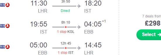 Round-trip flights from the UK to Entebbe, Uganda from £298!