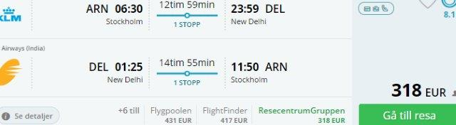 Cheap return flights to New Delhi from Stockholm, Brussels or Prague from €318!