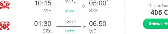 Cheap non-stop flights from Vienna to Shenzhen, China from €405!