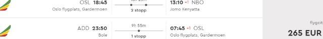 Cheap open-jaw flights from Oslo to Kenya return from Ethiopia from €265!