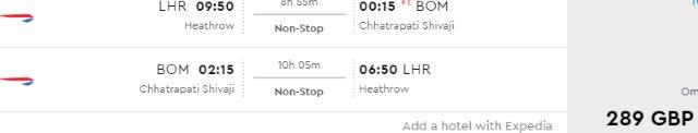 British Airways cheap non-stop flights from London to India £289!