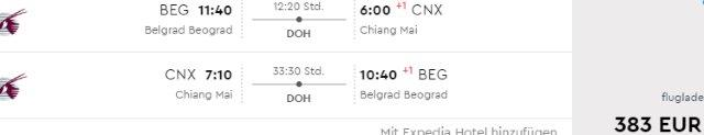 Return flights from Sofia or Belgrade to Thailand from €383!