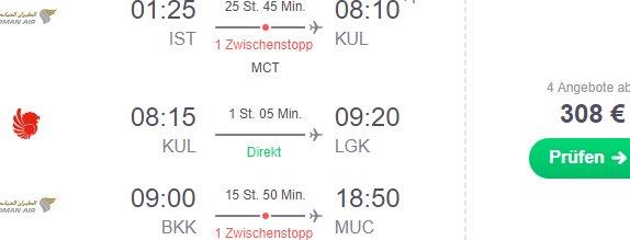 Multi-city open-jaw flights from Istanbul or Casablanca to Kuala Lumpur then Langkawi & return from Bangkok to Germany, Milan, Paris or London from €308!