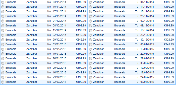 Cheap air tickets from Brussels to Zanzibar main season 2014/2015 from €400!