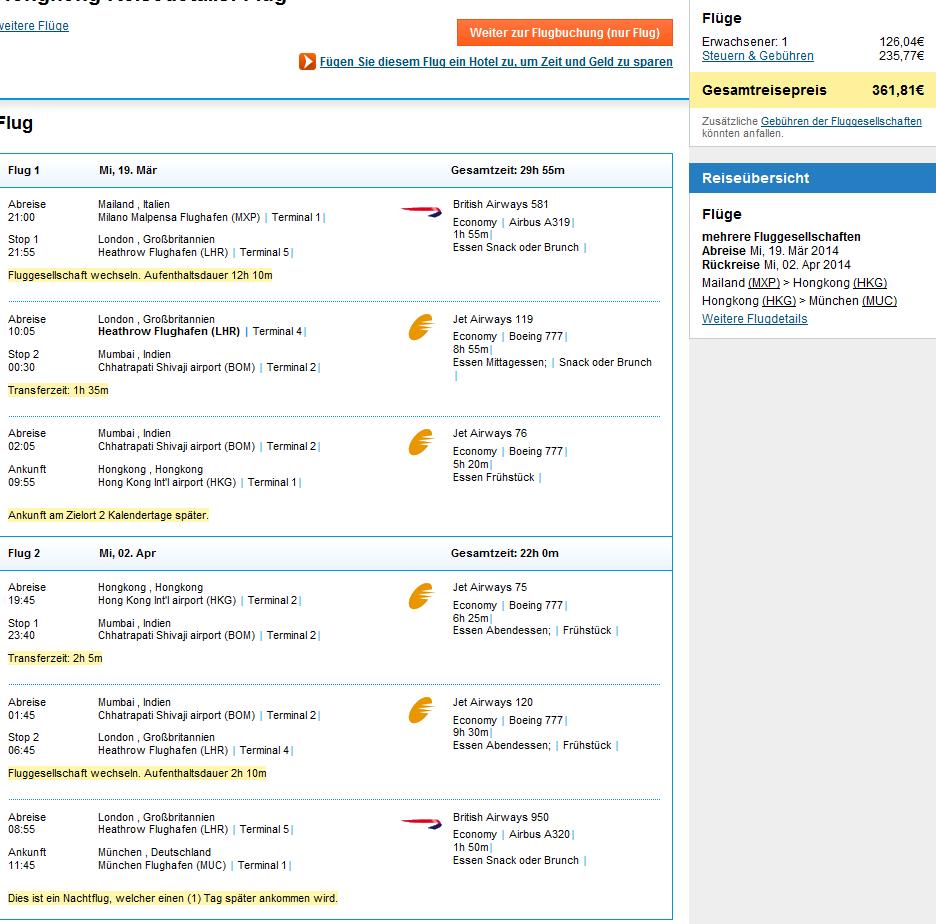 Cheap open jaw flights from Europe to Hong Kong