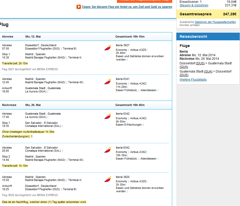 Error fare Cheap flights from Germany to Central America for 247