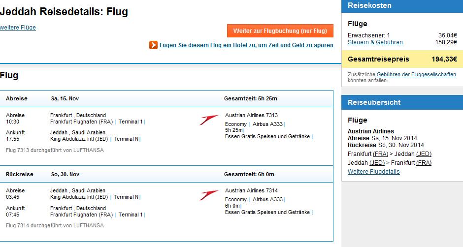 Error fare flight from Germany to Saudi Arabia for 194