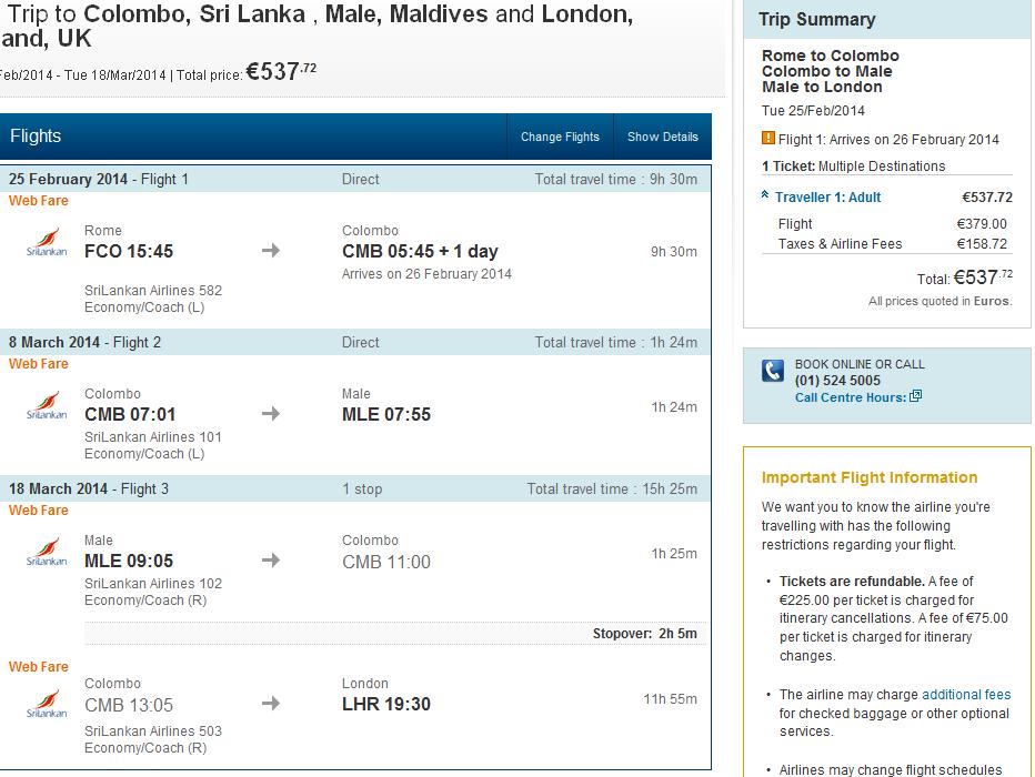 Multi city flights Germany/Italy - Sri Lanka - Maldives - London