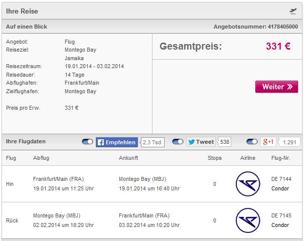 Cheap last minute flights to Caribbean: Frankfurt to Jamaica for €331!