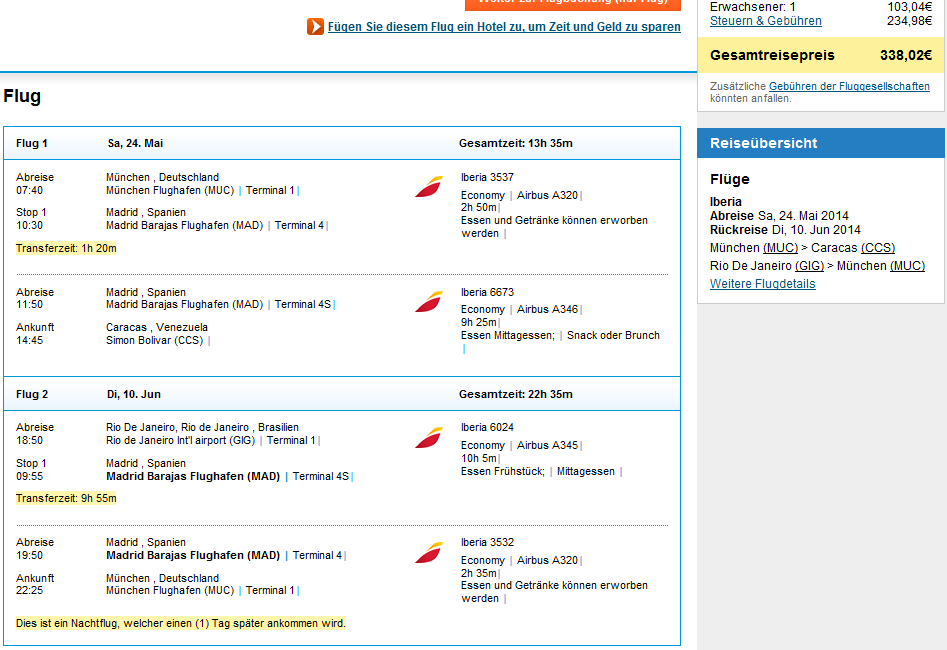 Error fare open-jaw flights to South America: visit Venezuela and Brazil from Germany