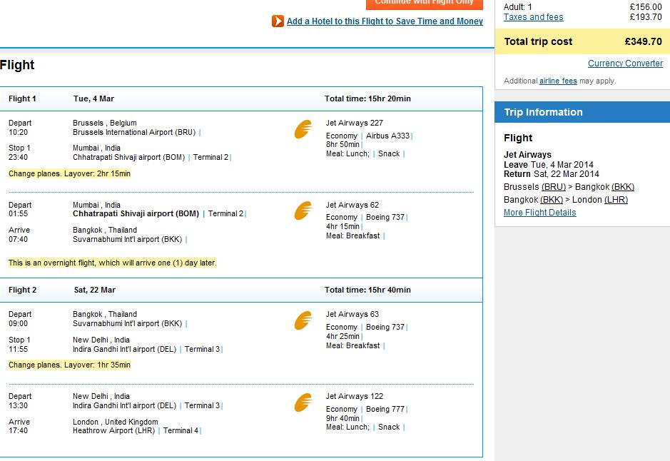 Open-jaw flights to Thailand: Brussels - Bangkok - London