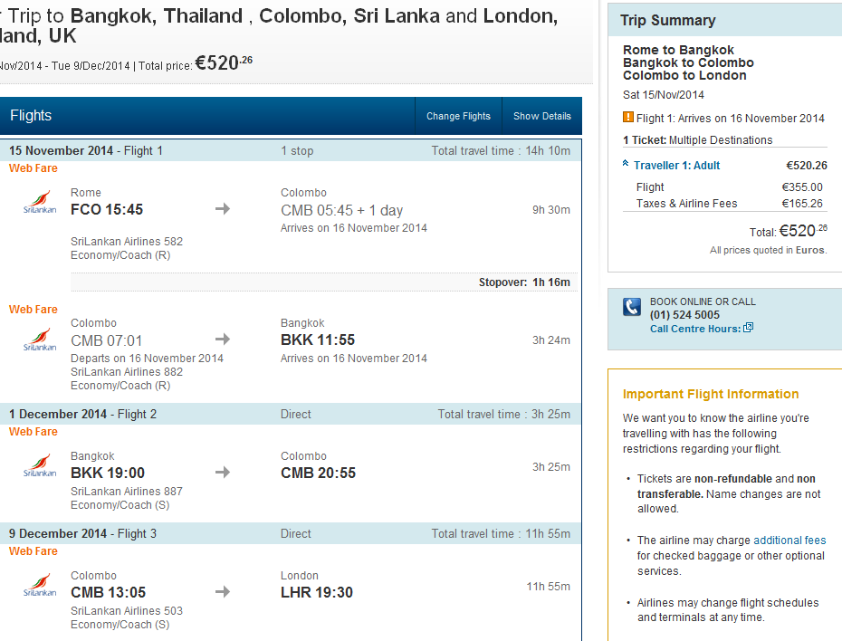 Visit Thailand and Sri Lanka at once! Multi city flights Germany/Italy - Bangkok - Colombo - London
