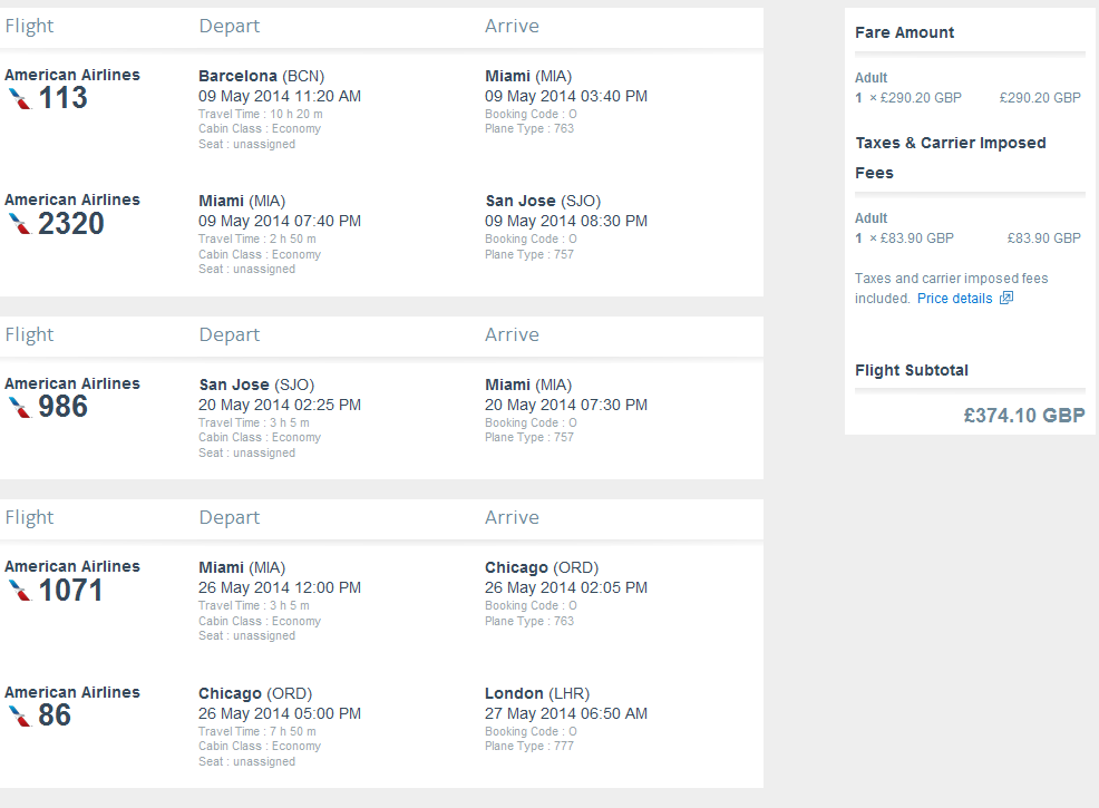 Fly to USA and Central America at once - multi city flights