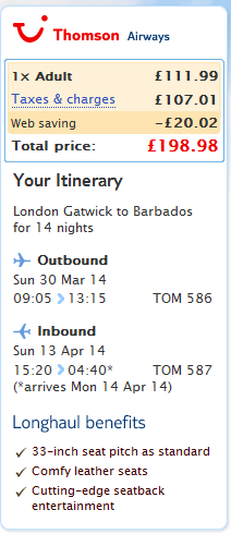 Cheap last minute flights to Caribbean - Barbados from UK Ł199