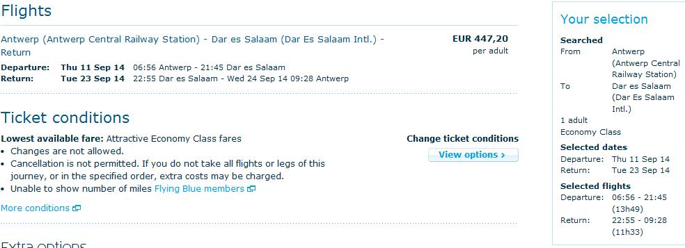 KLM promotion - flights from Belgium to India, Tanzania, Brasil