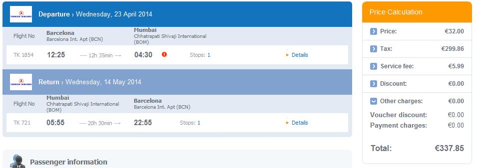 Turkish Airlines Spain To Ethiopia 301 India 338