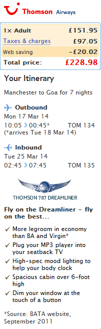 Thomson Airways: flights from UK to USA (Florida) or Goa, India