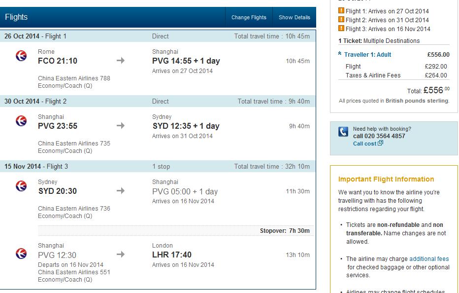 Multi-city flights Rome - Shanghai - Sydney - London for Ł556 (€685)!!