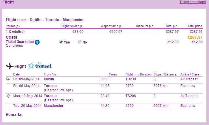 Tips for cheap non-stop open jaw flights from Ireland to Canada Toronto return UK 287
