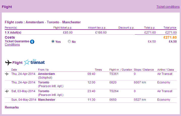 Tips for cheap non-stop open jaw flights from Netherlands to Canada Toronto return UK 271