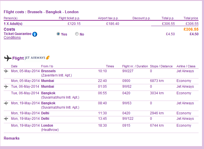 Open-jaw flights to Thailand: Brussels - Bangkok - London for Ł306(€369)!